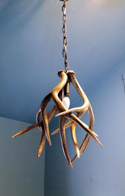 Custom antler pendant lighting made from moose caribou elk and small mule deer antler pendant light with three mule deer antlers aloadofball