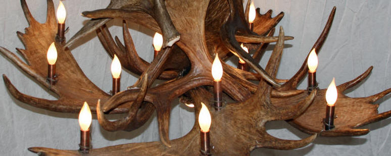 close up of large moose antler chandelier