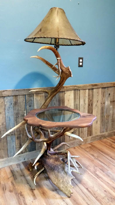 Elk Antler Lamp Table