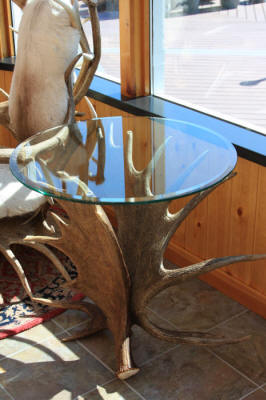 Handcrafted Antler End Tables With Custom Glass Tops
